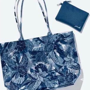 VS PINK blue palm floral PVC plastic tote NWOT